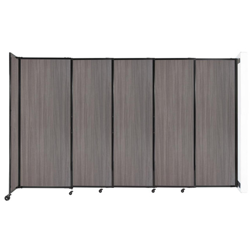 """Wall-Mounted StraightWall Sliding Partition 11'3"""" x 6'10"""" Gray Elm Wood Grain"""
