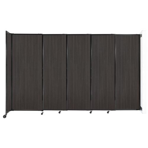 """Wall-Mounted StraightWall Sliding Partition 11'3"""" x 6'10"""" Carbon Ash Wood Grain"""