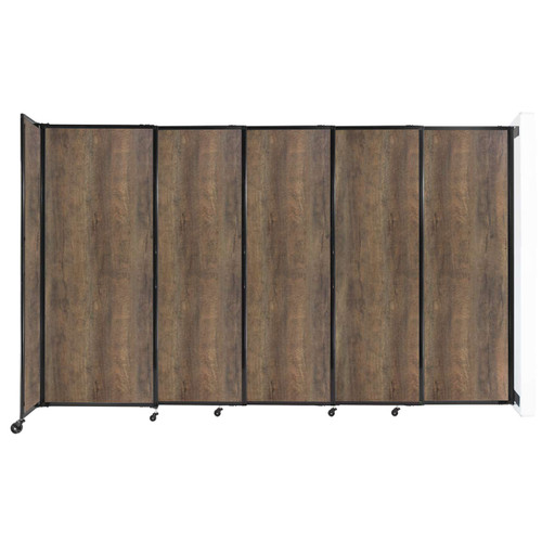 "Wall-Mounted StraightWall Sliding Partition 11'3"" x 6'10"" Urban Oak Wood Grain"