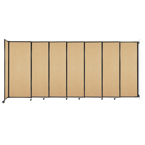 """Wall-Mounted StraightWall Sliding Partition 15'6"""" x 6'10"""" Natural Maple Wood Grain"""