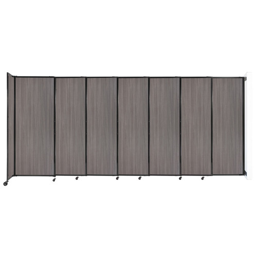 """Wall-Mounted StraightWall Sliding Partition 15'6"""" x 6'10"""" Gray Elm Wood Grain"""