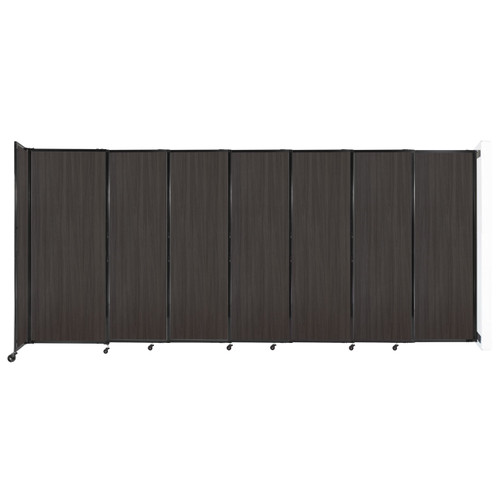 """Wall-Mounted StraightWall Sliding Partition 15'6"""" x 6'10"""" Carbon Ash Wood Grain"""