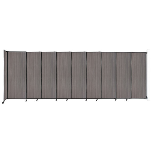 """Wall-Mounted StraightWall Sliding Partition 19'9"""" x 6'10"""" Gray Elm Wood Grain"""