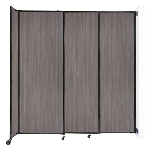 """Wall-Mounted StraightWall Sliding Partition 7'2"""" x 7'6"""" Gray Elm Wood Grain"""