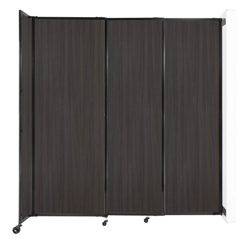 """Wall-Mounted StraightWall Sliding Partition 7'2"""" x 7'6"""" Carbon Ash Wood Grain"""