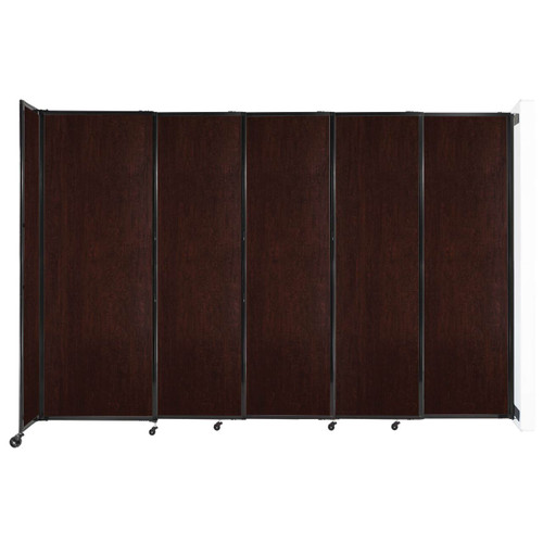 """Wall-Mounted StraightWall Sliding Partition 11'3"""" x 7'6"""" Espresso Cherry Wood Grain"""