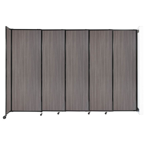 """Wall-Mounted StraightWall Sliding Partition 11'3"""" x 7'6"""" Gray Elm Wood Grain"""