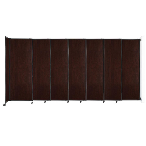 """Wall-Mounted StraightWall Sliding Partition 15'6"""" x 7'6"""" Espresso Cherry Wood Grain"""
