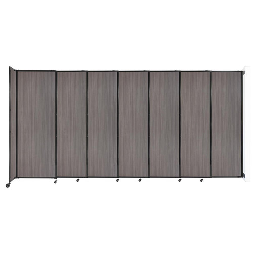 """Wall-Mounted StraightWall Sliding Partition 15'6"""" x 7'6"""" Gray Elm Wood Grain"""