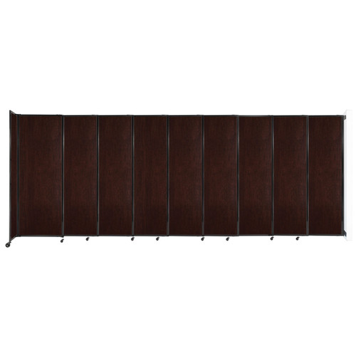 """Wall-Mounted StraightWall Sliding Partition 19'9"""" x 7'6"""" Espresso Cherry Wood Grain"""