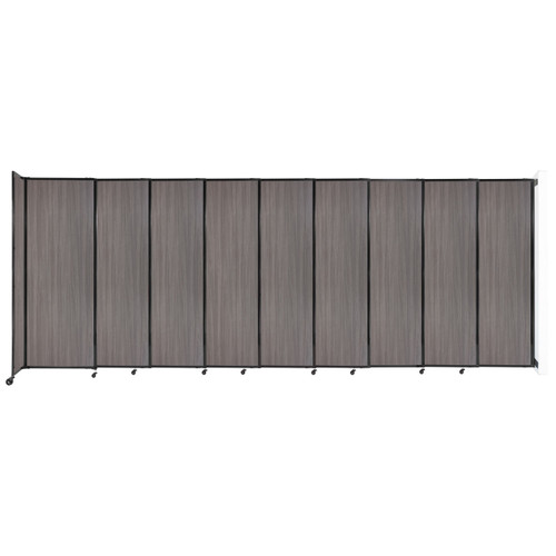 """Wall-Mounted StraightWall Sliding Partition 19'9"""" x 7'6"""" Gray Elm Wood Grain"""