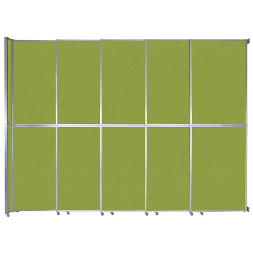 """Operable Wall Sliding Room Divider 15'7"""" x 12'3"""" Lime Green Fabric"""