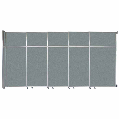 """Operable Wall Sliding Room Divider 15'7"""" x 8'5-1/4"""" Sea Green Fabric"""