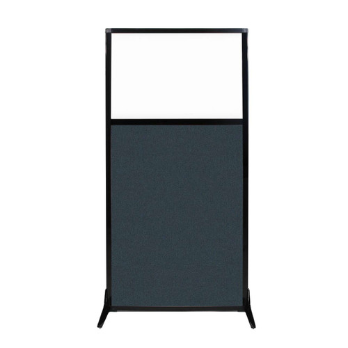 """Work Station Screen 33"""" x 70"""" Blue Spruce Fabric With Clear Window"""