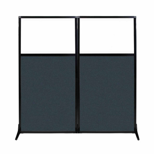 """Work Station Screen 66"""" x 70"""" Blue Spruce Fabric With Clear Window"""