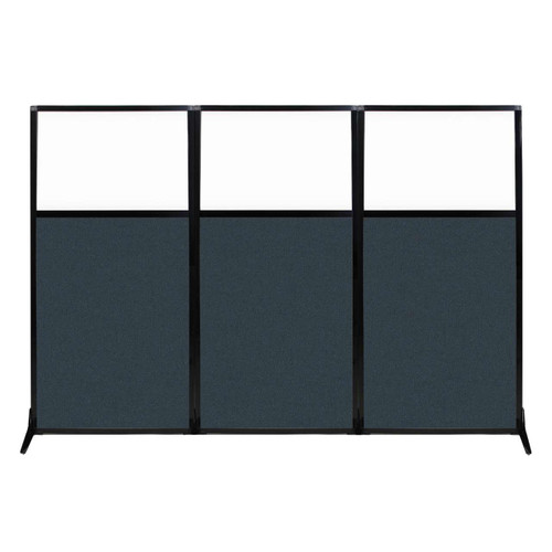 """Work Station Screen 99"""" x 70"""" Blue Spruce Fabric With Clear Window"""