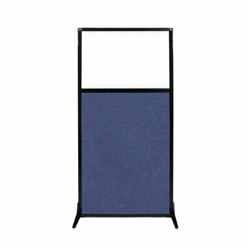 "Work Station Screen 33"" x 70"" Cerulean Fabric With Clear Window"