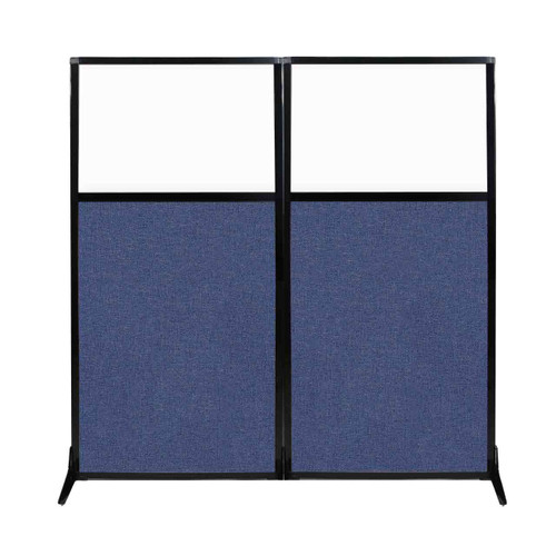 "Work Station Screen 66"" x 70"" Cerulean Fabric With Clear Window"