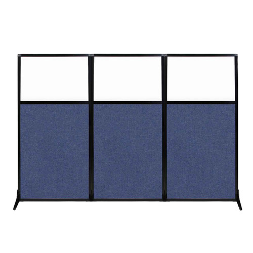 "Work Station Screen 99"" x 70"" Cerulean Fabric With Clear Window"
