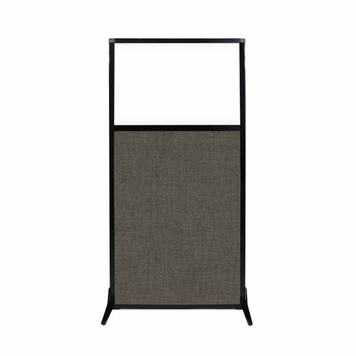 "Work Station Screen 33"" x 70"" Mocha Fabric With Clear Window"