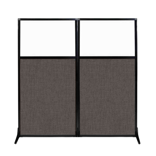 "Work Station Screen 66"" x 70"" Mocha Fabric With Clear Window"
