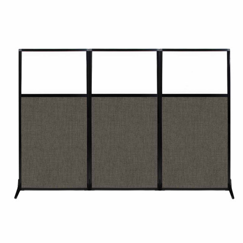 "Work Station Screen 99"" x 70"" Mocha Fabric With Clear Window"