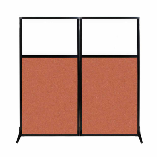 "Work Station Screen 66"" x 70"" Papaya Fabric With Clear Window"