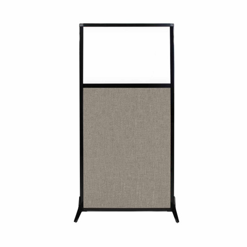 """Work Station Screen 33"""" x 70"""" Warm Pebble Fabric With Clear Window"""