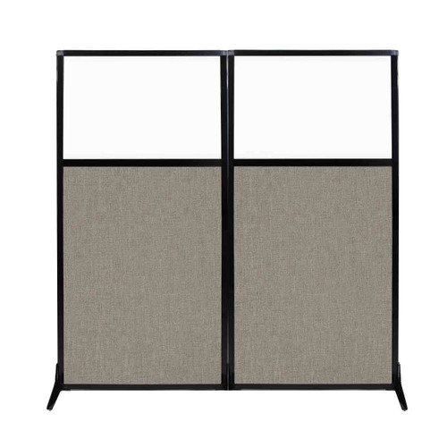 """Work Station Screen 66"""" x 70"""" Warm Pebble Fabric With Clear Window"""