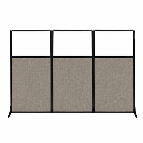 """Work Station Screen 99"""" x 70"""" Warm Pebble Fabric With Clear Window"""
