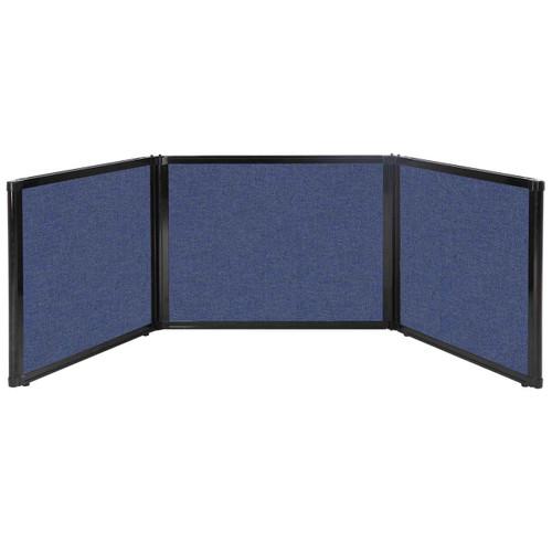 "Folding Tabletop Display 99"" x 24"" Cerulean Fabric"
