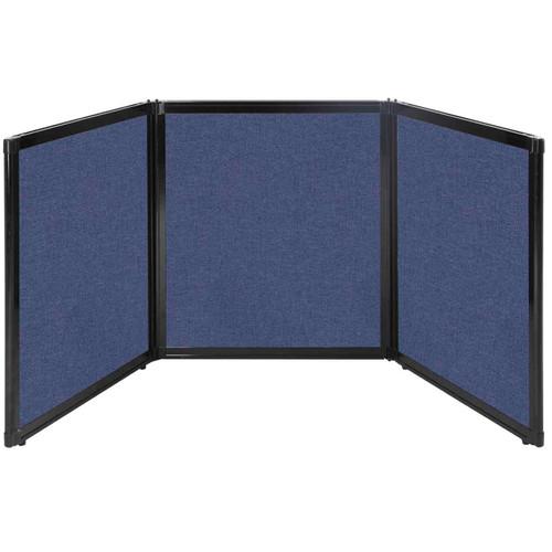 "Folding Tabletop Display 99"" x 36"" Cerulean Fabric"