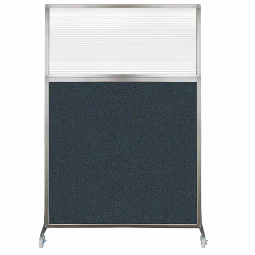 Hush Screen Portable Partition 4' x 6' Blue Spruce Fabric Clear Fluted Window With Wheels