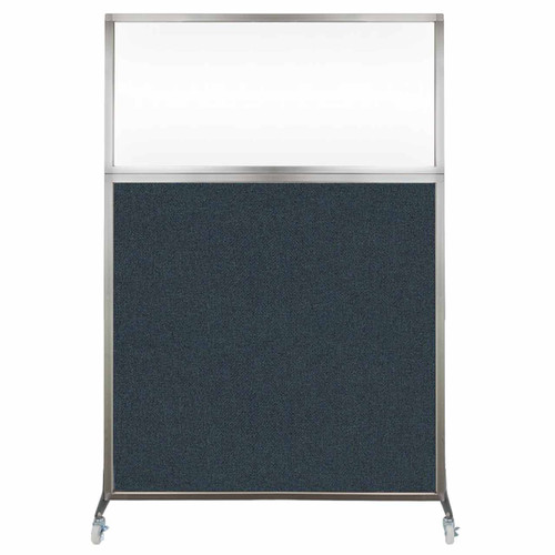 Hush Screen Portable Partition 4' x 6' Blue Spruce Fabric Clear Window With Wheels