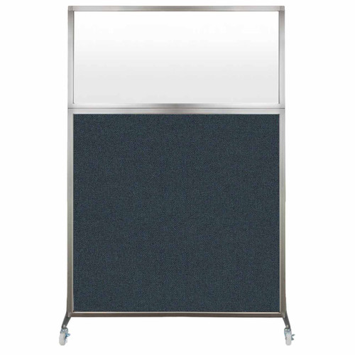 Hush Screen Portable Partition 4' x 6' Blue Spruce Fabric Frosted Window With Wheels