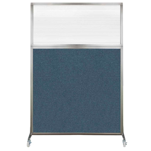 Hush Screen Portable Partition 4' x 6' Caribbean Fabric Clear Fluted Window With Wheels