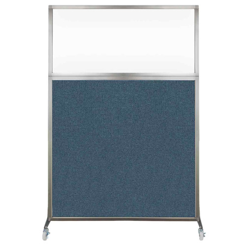 Hush Screen Portable Partition 4' x 6' Caribbean Fabric Clear Window With Wheels