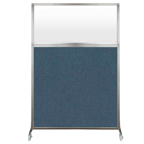 Hush Screen Portable Partition 4' x 6' Caribbean Fabric Frosted Window With Wheels
