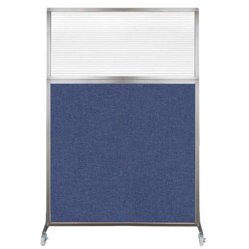 Hush Screen Portable Partition 4' x 6' Cerulean Fabric Clear Fluted Window With Wheels