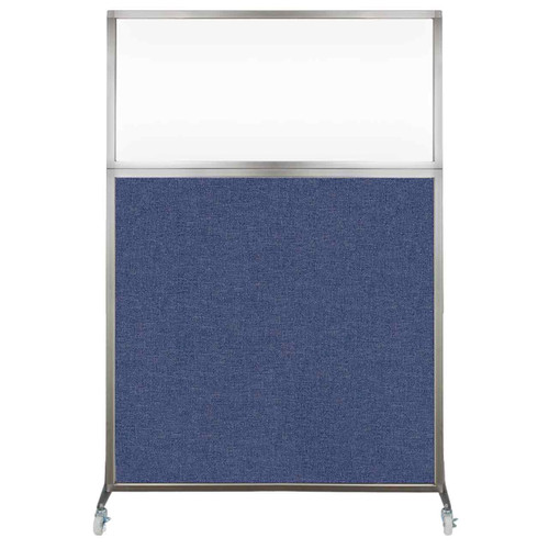 Hush Screen Portable Partition 4' x 6' Cerulean Fabric Clear Window With Wheels