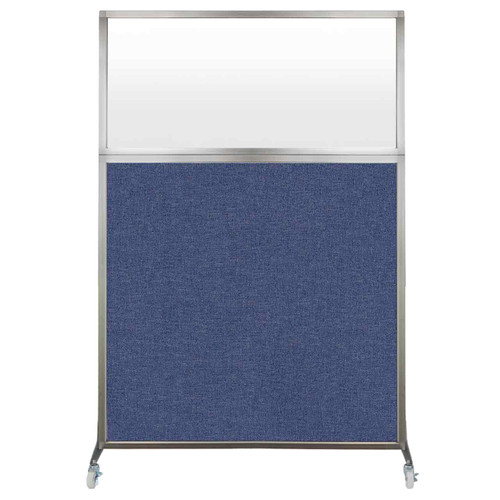 Hush Screen Portable Partition 4' x 6' Cerulean Fabric Frosted Window With Wheels