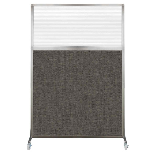 Hush Screen Portable Partition 4' x 6' Mocha Fabric Clear Fluted Window With Wheels