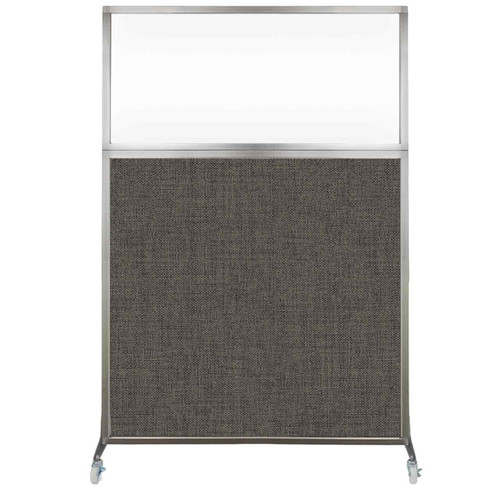 Hush Screen Portable Partition 4' x 6' Mocha Fabric Clear Window With Wheels