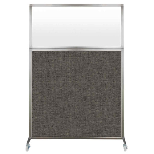 Hush Screen Portable Partition 4' x 6' Mocha Fabric Frosted Window With Wheels