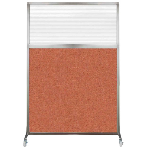 Hush Screen Portable Partition 4' x 6' Papaya Fabric Clear Fluted Window With Wheels