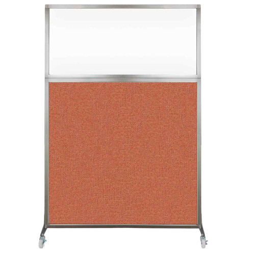 Hush Screen Portable Partition 4' x 6' Papaya Fabric Clear Window With Wheels