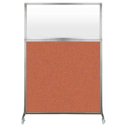 Hush Screen Portable Partition 4' x 6' Papaya Fabric Frosted Window With Wheels