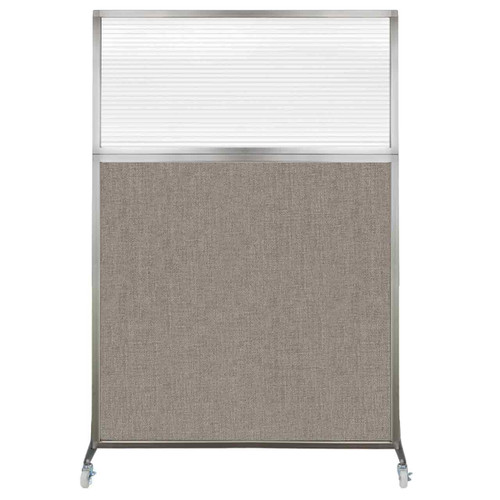 Hush Screen Portable Partition 4' x 6' Warm Pebble Fabric Clear Fluted Window With Wheels
