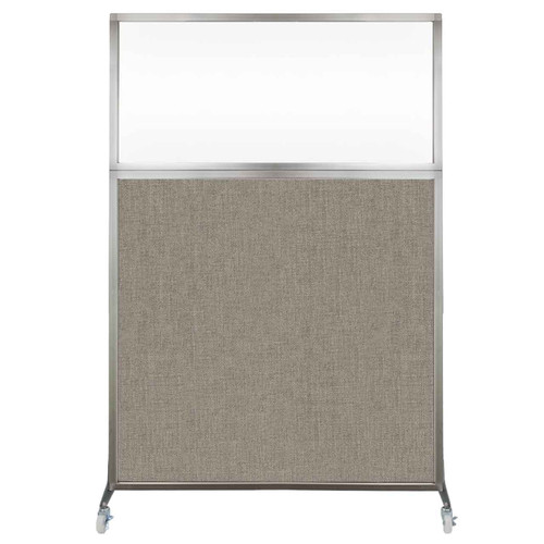 Hush Screen Portable Partition 4' x 6' Warm Pebble Fabric Clear Window With Wheels
