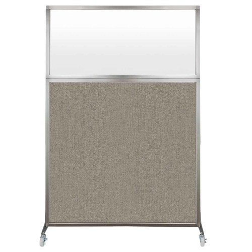 Hush Screen Portable Partition 4' x 6' Warm Pebble Fabric Frosted Window With Wheels